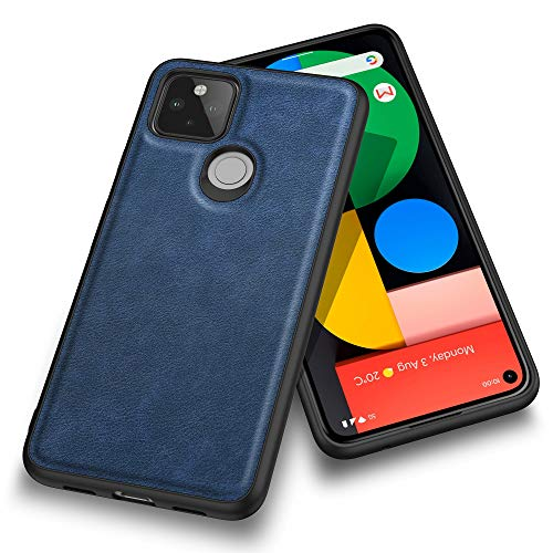 "Kqimi Case for Google Pixel 5, Premium Leather Slim Fit Business Style Stylish Elegant Soft Grip Shockproof Anti-Scratch Protection Cover Cases for Google Pixel 5 (6.0"") 2020 (Blue)"