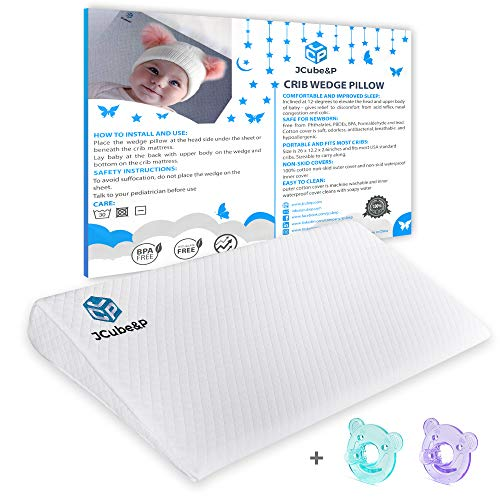 JCube&P Crib Wedge Pillow with Cotton & Waterproof Covers - 2 Free Pacifiers - Newborn Wedge Pad for Better Sleep - Nasal Congestion, Colic & Acid Reflux Relief