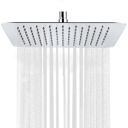 SR SUN RISE Luxury 10 Inch Large Square Stainless Steel Shower Head High Pressure Rainfall Showerhead Ultra Thin Water Saving Polished Chrome