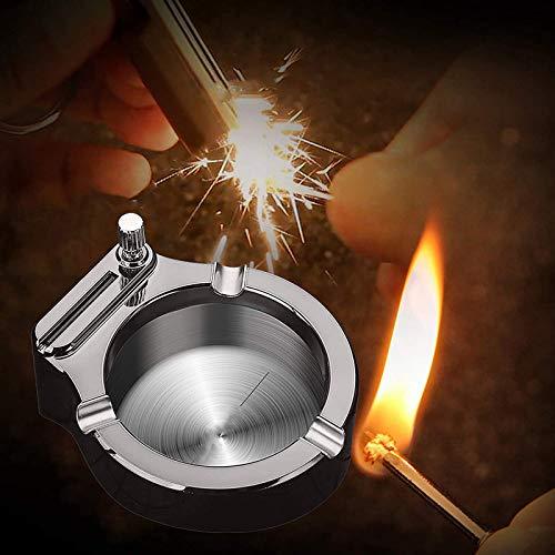 Retro Metal Ashtray Flint Fire Starte Ten Thousand Match Lighter Multifunction Stainless Steel Ashtray Gift for Men Dad Boyfriend Husband Friends… (A)