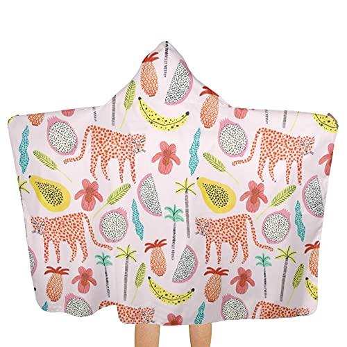 UUICYLTD Toallas con capucha para niños, de superficie tropical, ultra suaves, extragrandes, de secado rápido, para playa, con capucha, para niños y niñas (tamaño único)