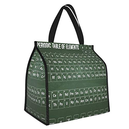 Y-shop Periodic Table Chemistry Science Inspirational Elements Educational Art for Class Dark Green and White Picnic Freezer Bag,Bag Picnic Camping Beach Tour BBQ 30l