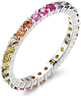 Women's 2MM Sterling Silver Rainbow Round Cubic Zirconia Eternity Ring
