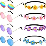 4 Pairs Hippie Sunglasses Retro Round Sunglasses and 4 Pieces Daisy Flower Crown Hair Wreath Sunflower Headband for Summer Party Supplies, 4 Colors