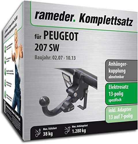 Rameder Komplettsatz, Anhängerkupplung abnehmbar + 13pol Elektrik für Peugeot 207 SW (148755-06433-1)