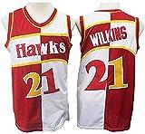 XSJY Camiseta De Baloncesto para Hombres NBA Atlanta Hawks 21# Dominique Wilkins Cómodo/Ligero/Transpirable Malla Bordada Swing Swing Sworing Sweatshirt,A,M:170~175cm/65~75kg