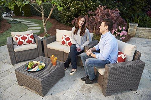 """Allibert by Keter"" Gartenlounge Sofa California 2-Sitzer, cappuccino/panama sand, inkl. Sitz- und Rückenkissen, Kunststoff, runde Rattanoptik - 4"