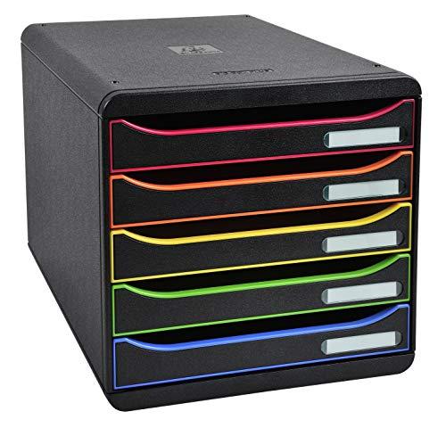 Exacompta 309914D Ablagebox Modulo (DIN A4+, mit 5 offenen Laden) 1 Stück schwarz/harlekin