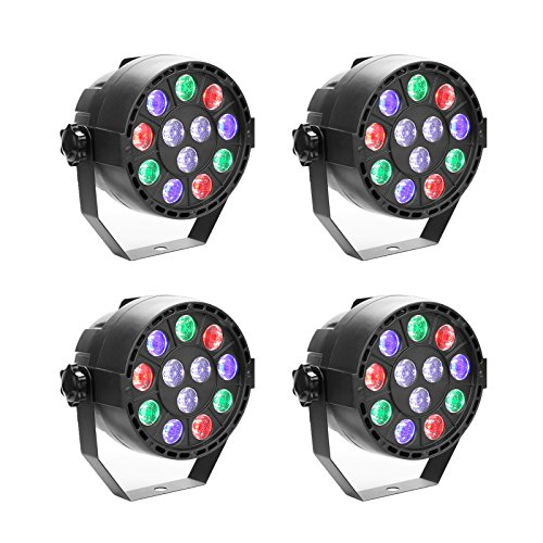 GBGS 12W Led Par uplighting Par Wall Wash Wedding DJ Up Light RGBW DMX Color Mixing Can Lamp for KTV Bar Pub Dance(4 Pack)