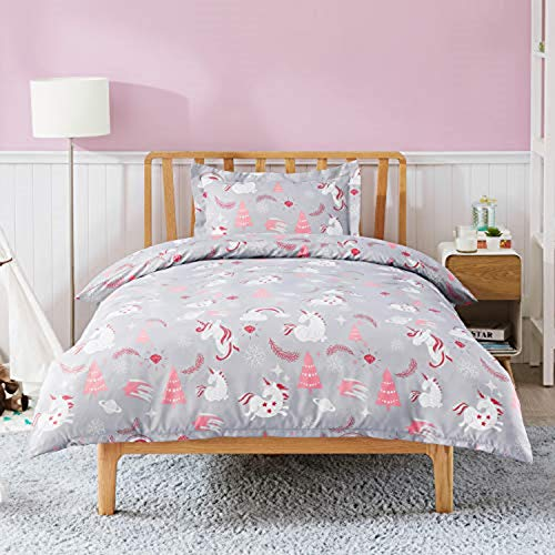 Bedsure Duvet Cover Set Cot Bed - Unicorn Bedding Toddler Junior/Cot Bed 120x150cm with 1 Pillow Cover 40x60cm for Girls and Boys Microfiber Polyester Bedding Sets