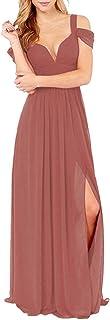 KKarine Women's Off The Shoulder Ruched Chiffon Side Slit Bridesmaid Dresses Long Formal Prom Bohemian Dress