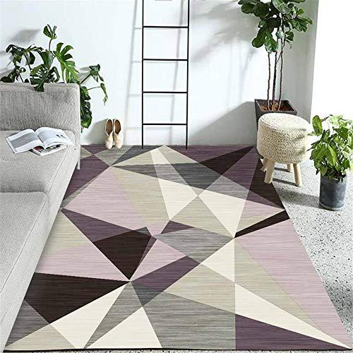 RUGMYW Alfombras Salon Sin Pelo Diseño Geométrico Gris Púrpura Habitacion Comedor Pasillo...