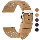 Fullmosa Correa de Reloj 18mm 20mm 22mm 24mm liberación rápida, 5 Colores Breeze Correa de Cuero de Banda de Piel de Becerro, 22mm Caqui