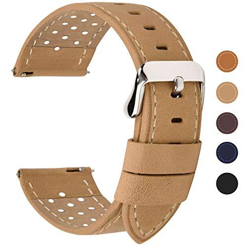 Fullmosa 6 Farben für Uhrenarmband mit Schnellverschluss, Breeze Serie Leder Ersatzband geeignet für Armbanduhr Herren&Damen,18mm Khaki
