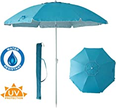 C-Hopetree 8 Foot Beach Umbrella Sand Anchor Fiberglass Ribs Telescopic Tilt Adjustable Aluminum Pole Carry Bag UPF 50+ Sky Blue