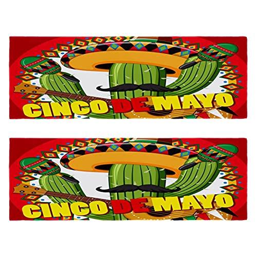 Al aire libre Microfibra Cinco De Mayo Cactus Guitarra Camping Toalla de Secado Rápido Toalla de Viaje Ligero Toalla Deportiva para Viajes Camping Yoga Gimnasio Deportes