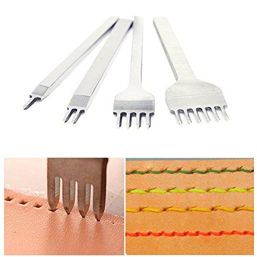 DIY Leder Locher Kits mit Schnellarbeitsstahl Leder Meißel Locher Werkzeug, 4mm 1/2/4/6 Prong Kohlenstoffstah