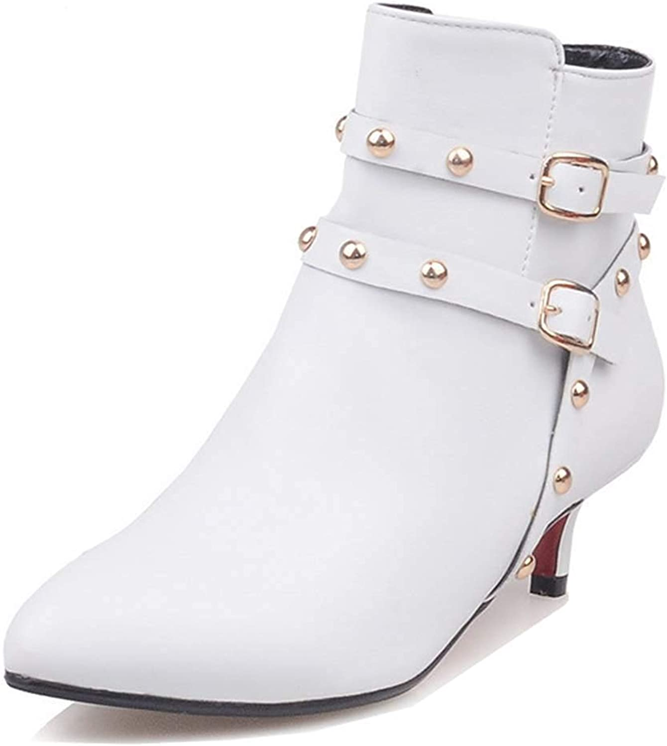 Unm Women's Sexy Studded Buckle Strap Stiletto Kitten Heel Booties Pointy Toe Ankle Boots with Zipper
