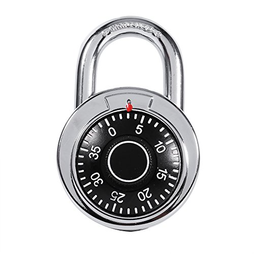 Coded Lock,Ro-tary Padlock Digit Combination Code Lock Safe Round Dial Number Luggage Suitcase Security