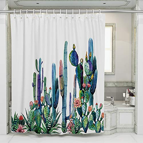 JOTOM Duschvorhang Schimmelresistenter und Wasserabweisend waschbar wasserdicht Shower Curtain mit 12 Duschvorhangringen (Kaktus C)