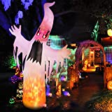 amzdeal Halloween Inflatable Ghost 8Ft Upgraded HalloweenTerrible White Ghost with Lighted Real Flames and Eyes Indoor Outdoor Yard Lawn Party Decoration Includes 5 Stakes and 3 Tethers