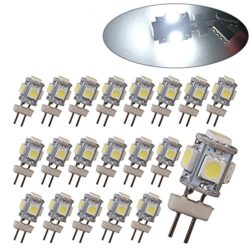 oEdRo 20 X G4 5 SMD 5050 LED Pure White RV Marine Boat Camper Light Bulb Lamp DC 12V