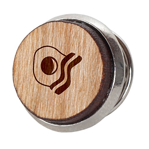Bacon and Egg Stylish Cherry Wood Tie Tack- 12Mm Simple Tie Clip with Laser Engraved Design - Engraved Tie Tack Gift