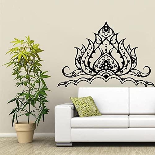 Opprxg Etiqueta de la Pared Etiqueta engomada del Vinilo del Loto Mandala decoración de la Etiqueta Bohemia para el Estudio de Yoga del hogar del Dormitorio 57X90cm