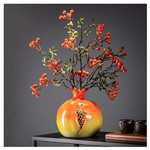 Hkwshop Vasen Deko Vintage Simulation Granatapfel Getrocknete Blumen-Dekoration Chinesischer Blumenschmuck Keramik Vase orange handgemachte Kunstwerk Steinzeug-Vase