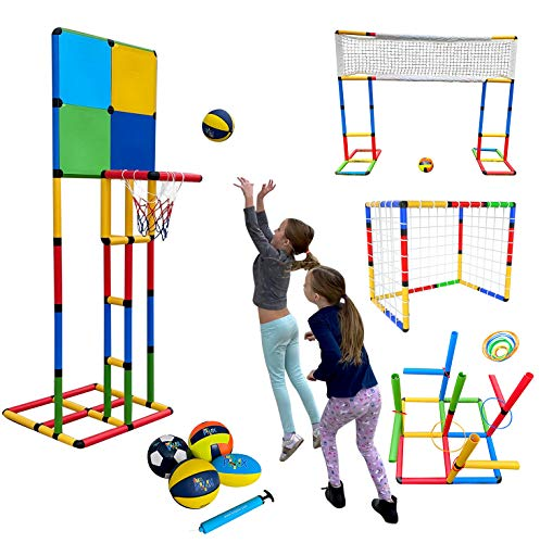 Funphix Create and Play Sport Set- Basketball, Soccer, Volleyball, Rugby, and Ring Toss Games-All Parts Included!