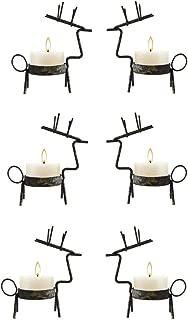 smtyle Reindeer Tealight Votive Candle Holders Metal Set of 6 Best for Home Decor Bronze