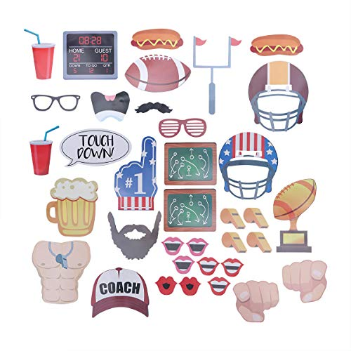 BESTOYARD Super Bowl American Football Foto Booth Requisiten Kits für Sportveranstaltungen Gefälligkeiten Rugby Party Supplies 36 Stücke
