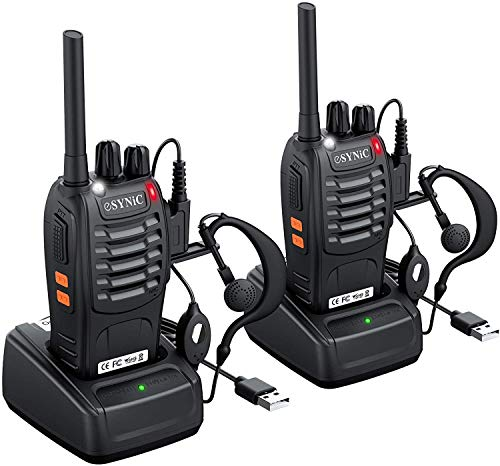 eSynic 2Pcs Walkie Talkies 2 Way Radio Long Range Rechargeable Walkie Talkie Portable Handheld Adult Walkie Talkies With Original Earpieces &16CH Single Band Supports VOX LED Light Voice Prompt