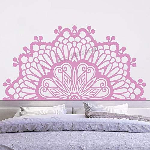 Calcomanía de pared de media Mandala, vinilo marroquí, pegatina de pared de estudio de Yoga, decoración bohemia para sala de estar, dormitorio, cabecera, pegatina de pared