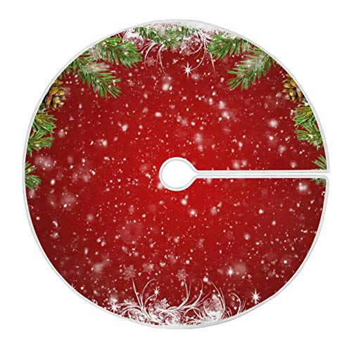 Mnsruu Roter Weihnachtsbaum Schneeflocke Weihnachtsbaum Rock Schnee Baum Röcke für Weihnachten Urlaub Dekorationen (90cm)