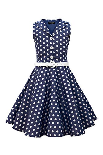 BlackButterfly BlackButterfly Kinder 'Holly' Vintage Polka-Dots Kleid im 50er-J-Stil (Nachtblau, 5-6 Jahre)