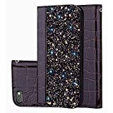 Black Sales Friday Deals Cyber Sales Monday Deals Week-iPhone 6s Plus Wallet Case Cover [Bling Glitter Shiny] Leather Flip Folio Case Kickstand Credit Card/ID Slots(Black-iPhone 6s Plus)