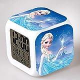 Geraffely Frozen アナと雪の女王 光る時計 置き時計 デジタル時計 アイアンマン 目ざまし時計 キャプテン マーベル LED 置き時計 立方体 大音量 LIANG見やすい 多機能 置き時計七色バックライト デジタル時計 目ざまし時計 六面体 オシャレ 温度カレンダー表示 可愛い置き時計 コンパクト(H03)
