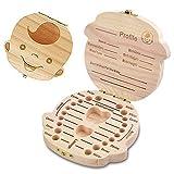 Spanish texto bebé dientes caja, MUXItrade save cajas de madera personalizada caja de recuerdos de hoja caduca, personalizar personalizada bebé dientes caja (Chico)