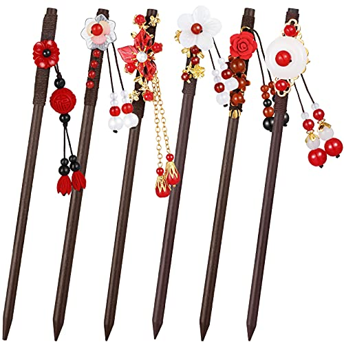 6 Pieces Japanese Chinese Hair Stick Retro Wooden Hairpin Flower Hair Chopsticks Handmade Vintage Wood Chinese Hair Stick with Tassel, Classic Hair Chopstick for Women Lady Girls Hair Accessories