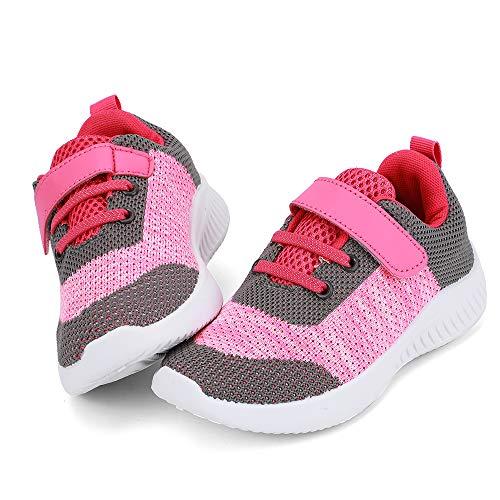 HKR nerteo Turnschuhe Kinder Mädchen Hallenschuhe Klettverschluss Sneaker Outdoor Laufschuhe Sportschuhe Grau/Pink/Rot 32 EU