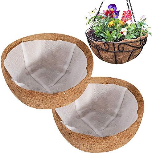 Richaa 2 Pezzi Coco Fodere per cesti appesi, Fodere di Ricambio per cestini Rotondi con Fodera in Tessuto Non Tessuto per Giardino di casa Balcone Vaso da Fiori (8 Pollici)
