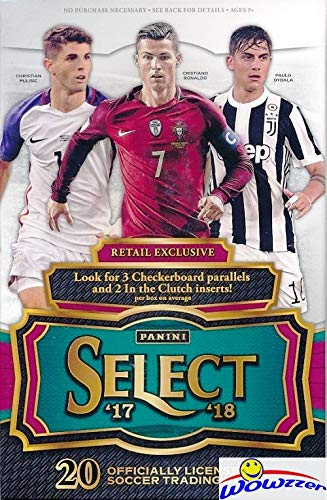2017/18 Panini Select Soccer EXCLUSIVE Factory Sealed Retail Box with (3) Checkerboard Parallels & (2) Clutch Inserts! Look for KYLIAN MBAPPE ROOKIES! Look for Autos of Ronaldo, Messi, Pele & More!