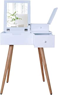 Facilehome White Dressing Vanity Table Makeup Desk with Flip Top Dressing Mirror and 2 Drawers