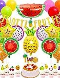 Globos de cumpleaños decoración de cumpleaños decoraciones para fiestas globo de aluminio tema de frutas decoración de cumpleaños para niños globo de feliz cumpleaños para niñas y niños (T1)