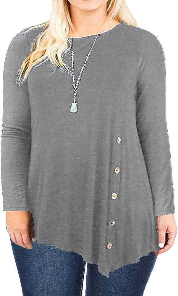 DOLNINE Womens Plus Size Tops Long Sleeve Pleated Hem Buttons Tunics Tees Shirts
