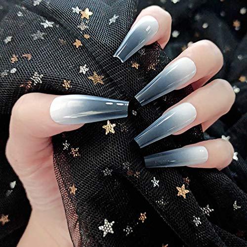 Sethexy Glänzend Ballerina Falscher Nagel Lange Sarg Gradient Falsche Fingernägel 24St Acryl Drücken Sie auf Art Nail Tips für Frauen und Mädchen (Glänzend schwarz)
