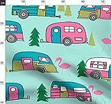 Vintage, Wohnmobil, Flamingo, Retro, Wohnwagen Stoffe -