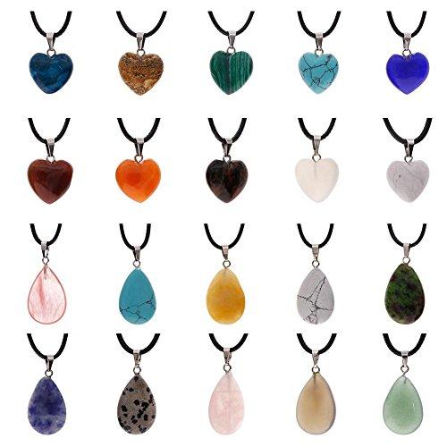 JuanYa - Colgantes con Forma de Gota de Agua en Forma de corazón, 20 Piezas, con Cuentas de Cuarzo de Cristal y cordón de Piel sintética DE 45,72 cm, Color Negro