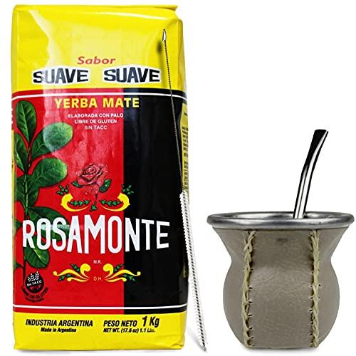 Juego de té mate: Yerba Mate Tee Rosamonte Suave, 1 kg, vaso mate, cristal con revestimiento de piel auténtica (marrón claro), calabaza | pajita de acero inoxidable - Bombilla | cepillo de limpieza